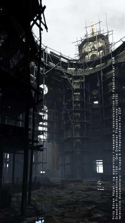 3d Rekonstruktion der Dresdner Frauenkirche - Innenraum im November 1730 / image by Faber Courtial, 2009