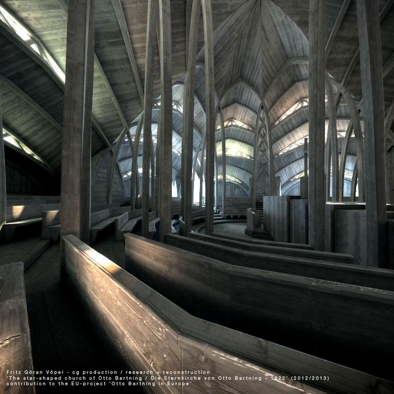 Bauhistorische 3d Rekonstruktion der ungebauten Sternkirche von Otto Bartning / image by Fritz Göran Vöpel, 2013