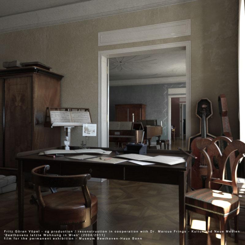 Digitale Rekonstruktion von Beethovens letzter Wohnung in Wien - Kompositionszimmer