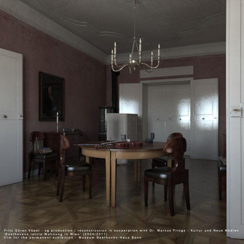 Digitale Rekonstruktion von Beethovens letzter Wohnung in Wien - Empfangszimmer