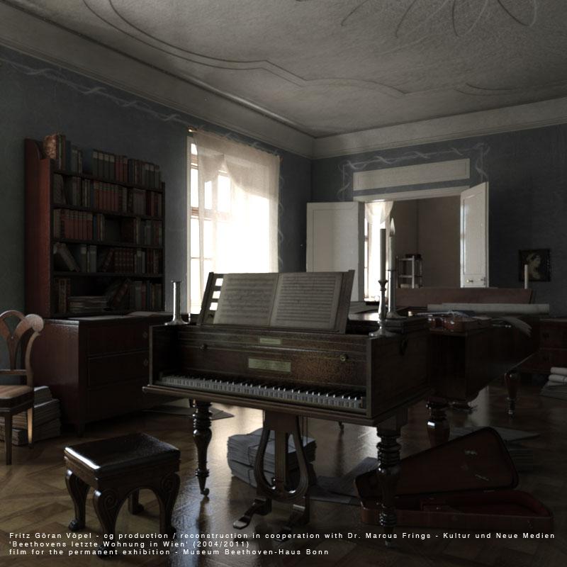 Digitale Rekonstruktion von Beethovens letzter Wohnung in Wien - Musikzimmer / image by Fritz Göran Vöpel, 2004/2011