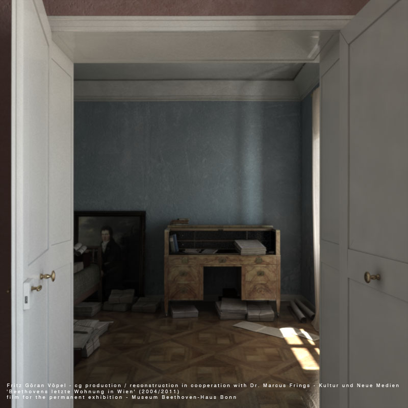 Digitale Rekonstruktion von Beethovens letzter Wohnung in Wien – sogenannte Rumpelkammer / image by Fritz Göran Vöpel, 2004/2011