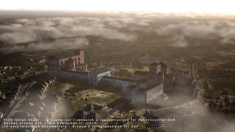 3d Rekonstruktion der Aachener Königspfalzum 800 / image by FaberCourtial, 2010