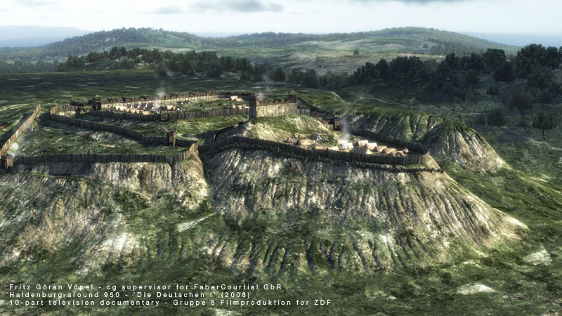 3d Rekonstruktion der Haldenburg um 950 / image by FaberCourtial, 2008