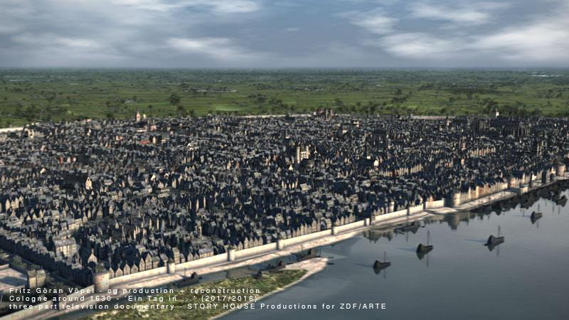 Stadtbauhistorische Rekonstruktion von Köln / image by Fritz Göran Vöpel, 2019