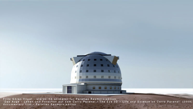 European Southern Observatory (ESO) - E-ELT / modell by ESO, image by fritzvoepel - parallax raumprojektion, 2009