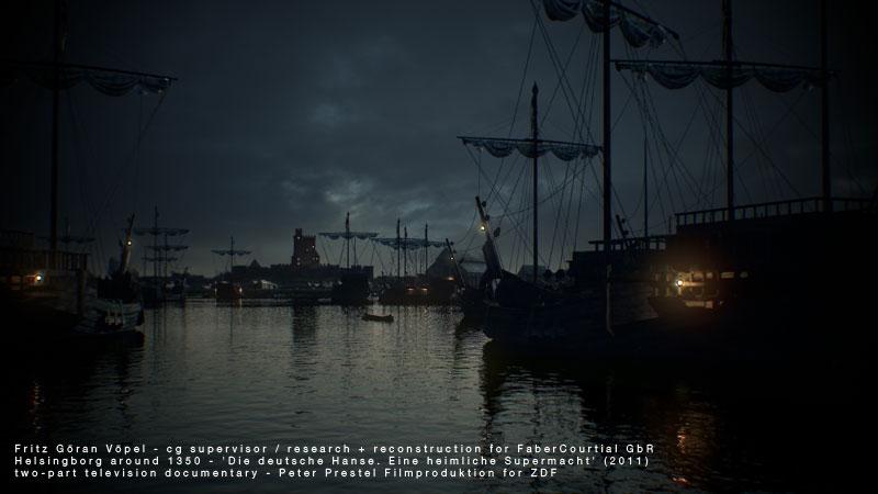 3d Rekonstruktion von Helsingborg um 1350 / image by FaberCourtial, 2010