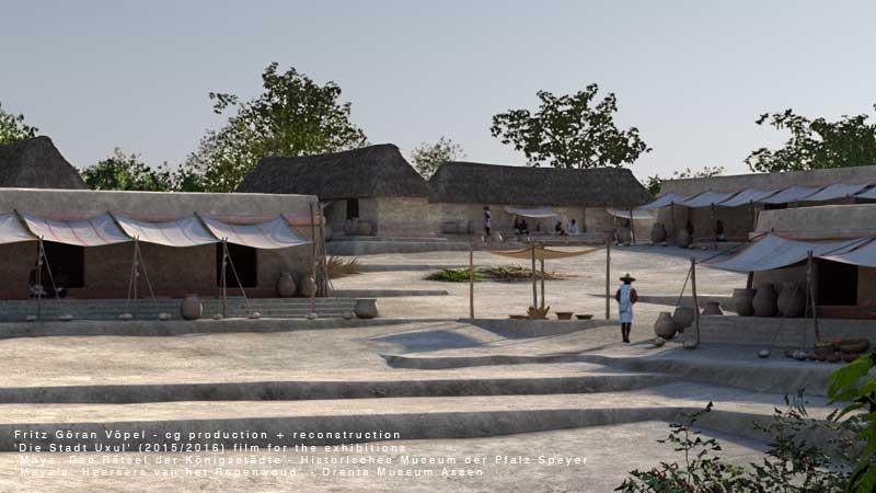 Archäologische Rekonstruktion von Uxul - Die Handwerker-Siedlung im Norden der Stadt / image by Fritz Göran Vöpel, 2016 / © Historisches Museum der Pfalz Speyer