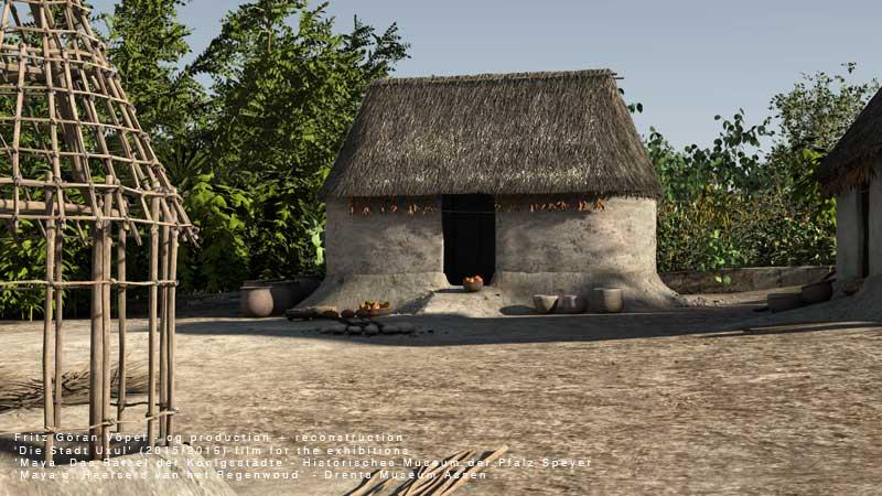 Archäologische Rekonstruktion von Uxul - Bäuerliche Hofanlage mit Apsidenhäusern  / image by Fritz Göran Vöpel, 2016 / © Historisches Museum der Pfalz Speyer