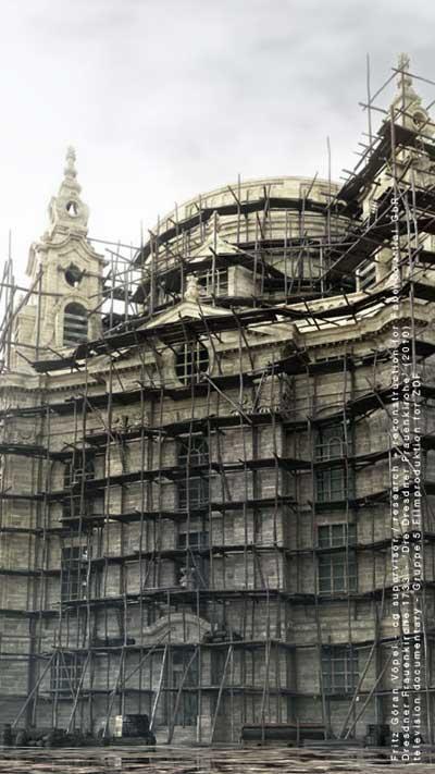 3d Rekonstruktion der Dresdner Frauenkirche - Ansicht von Westen im Oktober 1733 / image by FaberCourtial, 2010