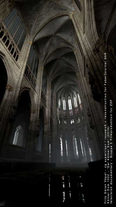 3d Rekonstruktion des Kölner Doms - Chor nach 1322 / image by FaberCourtial, 2010