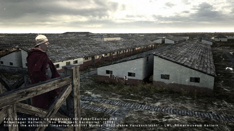 Archäologische Rekonstruktion des Römerlagers Haltern - Mannschaftsbaracken / image by FaberCourtial, 2009 / © Landschaftsverband Westfalen-Lippe