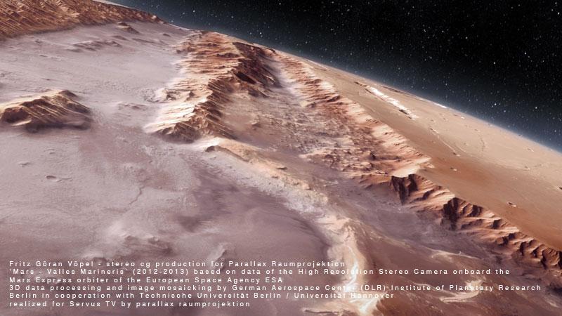 DLR / Servus TV - Valles Marineris / image by fritz göran vöpel - parallax raumprojektion, 2012 - © Servus TV