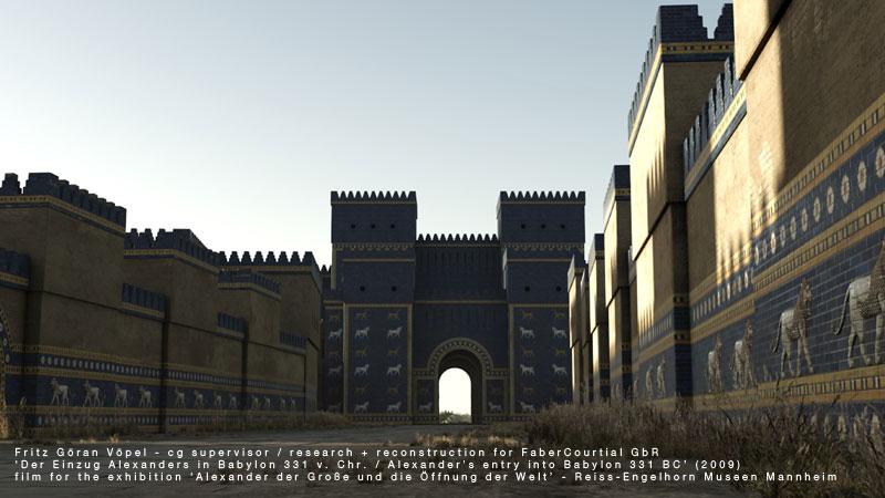 Archäologische 3d Rekonstruktion von Babylon - Prozessionsstraße mit Löwen-Relief  und Ischtar-Tor / image by FaberCourtial, 2009 / © Reiss-Engelhorn Museen Mannheim