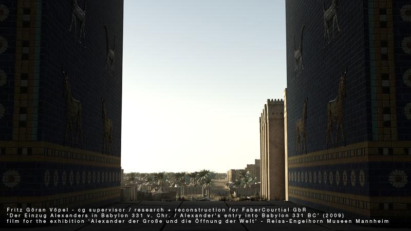 Archäologische 3d Rekonstruktion von Babylon - Relief mit Stieren und Schlangendrachen am Ischtar-Tor / image by FaberCourtial, 2009 / © Reiss-Engelhorn Museen Mannheim