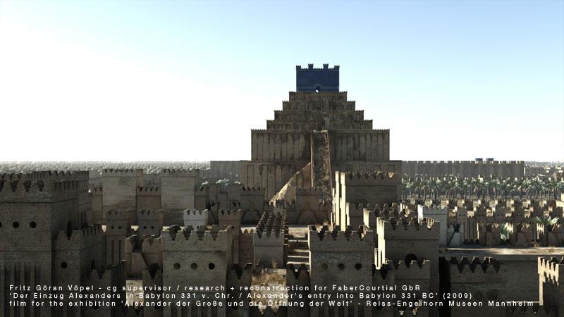 Archäologische 3d Rekonstruktion von Babylon - Marduk-Tempel und Zikkurat / image by FaberCourtial, 2009 / © Reiss-Engelhorn Museen Mannheim