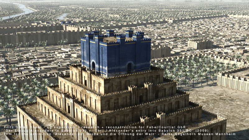 Archäologische 3d Rekonstruktion von Babylon - Zikkurat / image by FaberCourtial, 2009 / © Reiss-Engelhorn Museen Mannheim