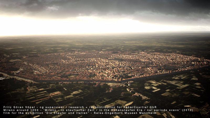 3d Rekonstruktion der Stadtanlage von Milano - Mitte 13. Jahrhundert / image by FaberCourtial, 2010 / © Reiss-Engelhorn Museen Mannheim