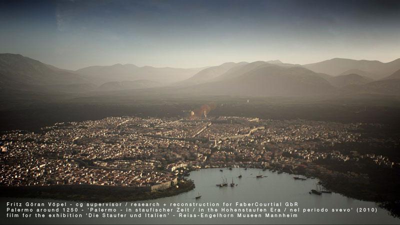 3d Rekonstruktion der Stadtanlage von Palermo - Mitte 13. Jahrhundert / image by FaberCourtial, 2010 / © Reiss-Engelhorn Museen Mannheim