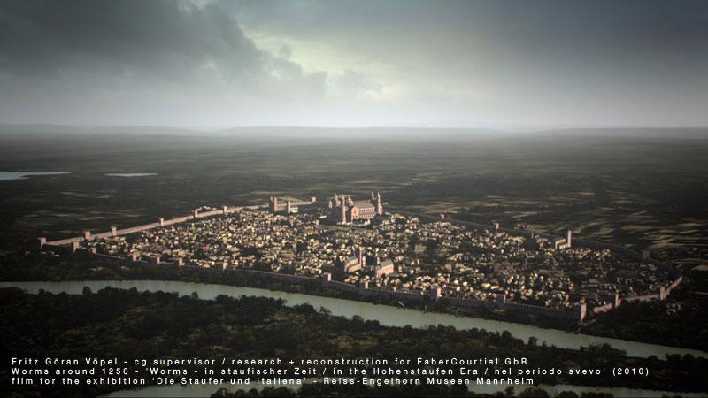 3d Rekonstruktion der Stadtanlage von Worms - Mitte 13. Jahrhundert / image by FaberCourtial, 2010 / © Reiss-Engelhorn Museen Mannheim