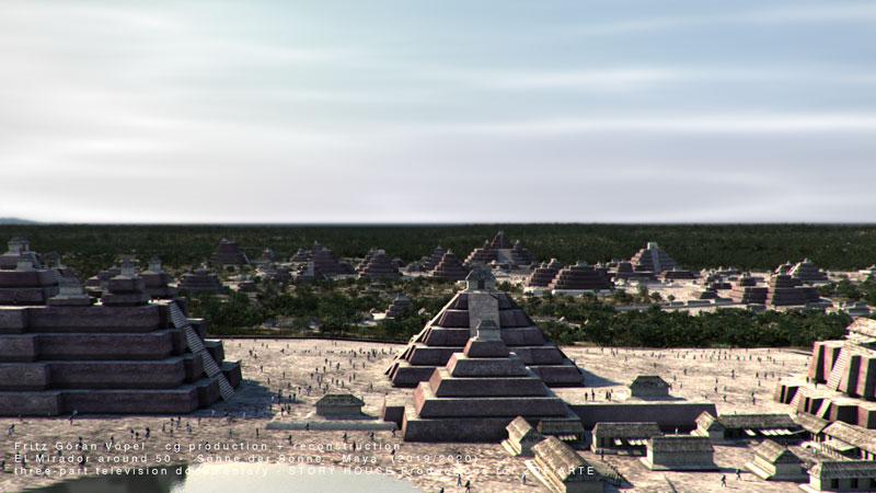Archäologische Rekonstruktion von El Mirador / image by Fritz Göran Vöpel, 2020